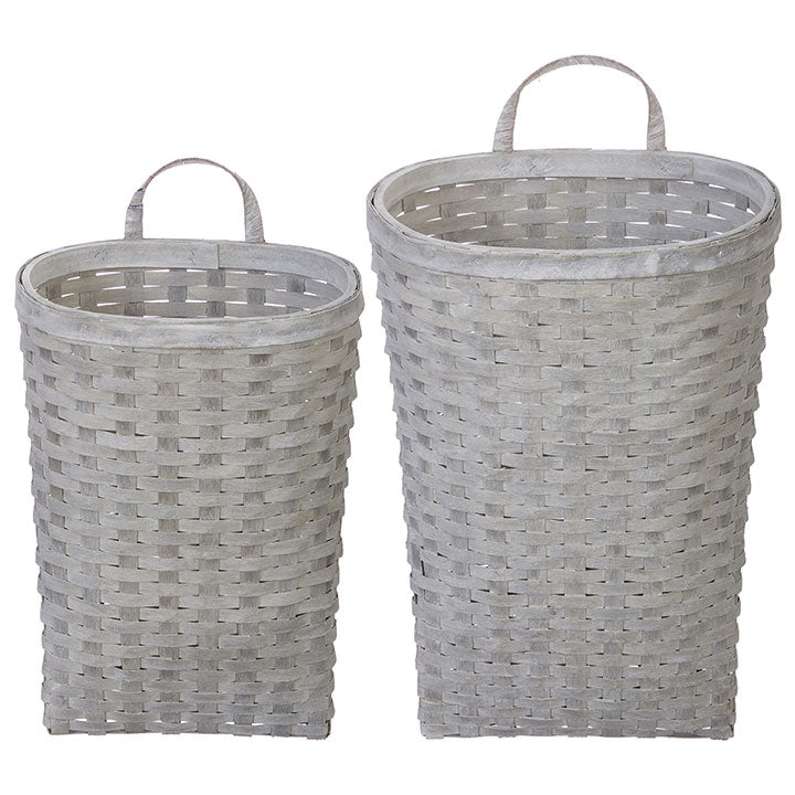 White Washed Wall Baskets Set of 2 - Rustic Barn CT
