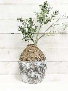 Woven Willow Clay Vase
