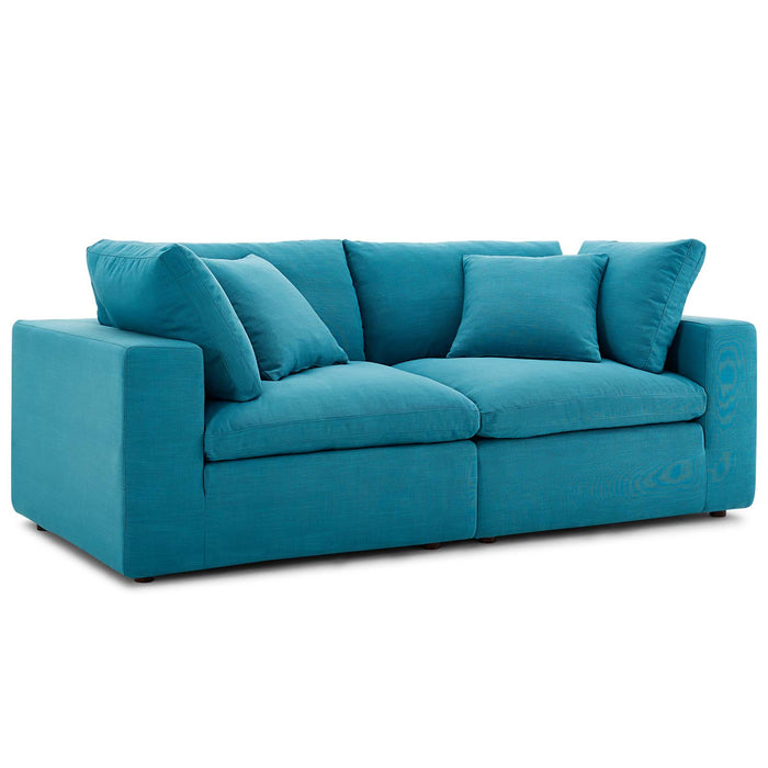 Astonishing Modway Commix Down Filled Overstuffed 2 Piece Sectional Sofa Set In Teal Inzonedesignstudio Interior Chair Design Inzonedesignstudiocom