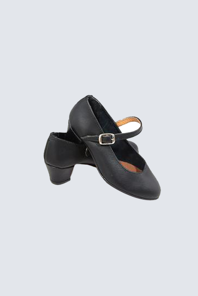 Classic Flamenquita Black Leather Kids Shoes