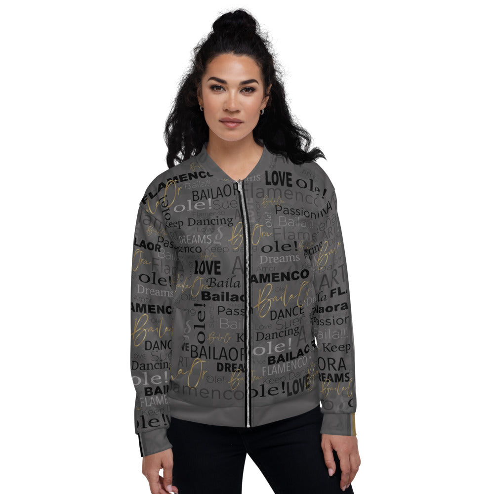 All Over Print - Unisex Grey Bomber Jacket