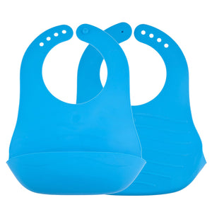 Avima Baby Fold and Go Bibs - Blue (Set of 2)