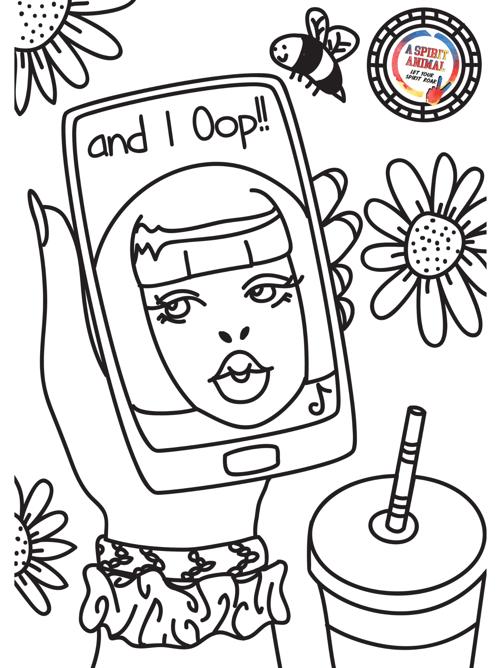 And I Oop VSCO coloring pages for girls who love using instagram and tie-tok.