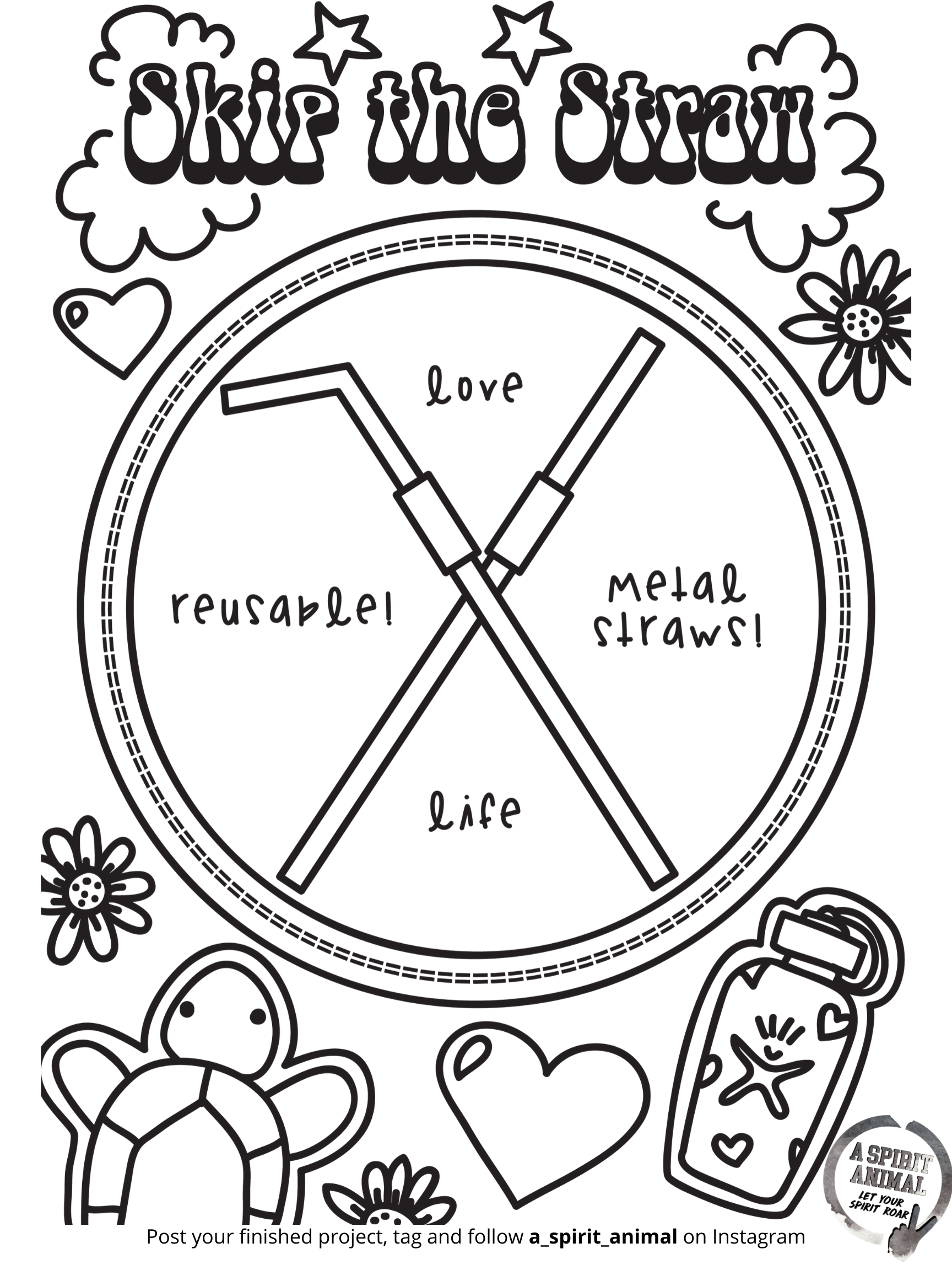 Save the straw coloring page from a spirit animal - an online boutique curated for girls and their moms featuring the hottest clothes and accessories.