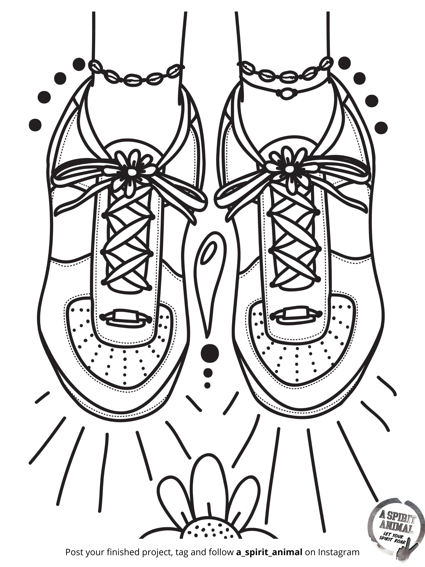 Air Force One Sneakers coloring page by a spirit animal - an online boutique for girls ages 6-106