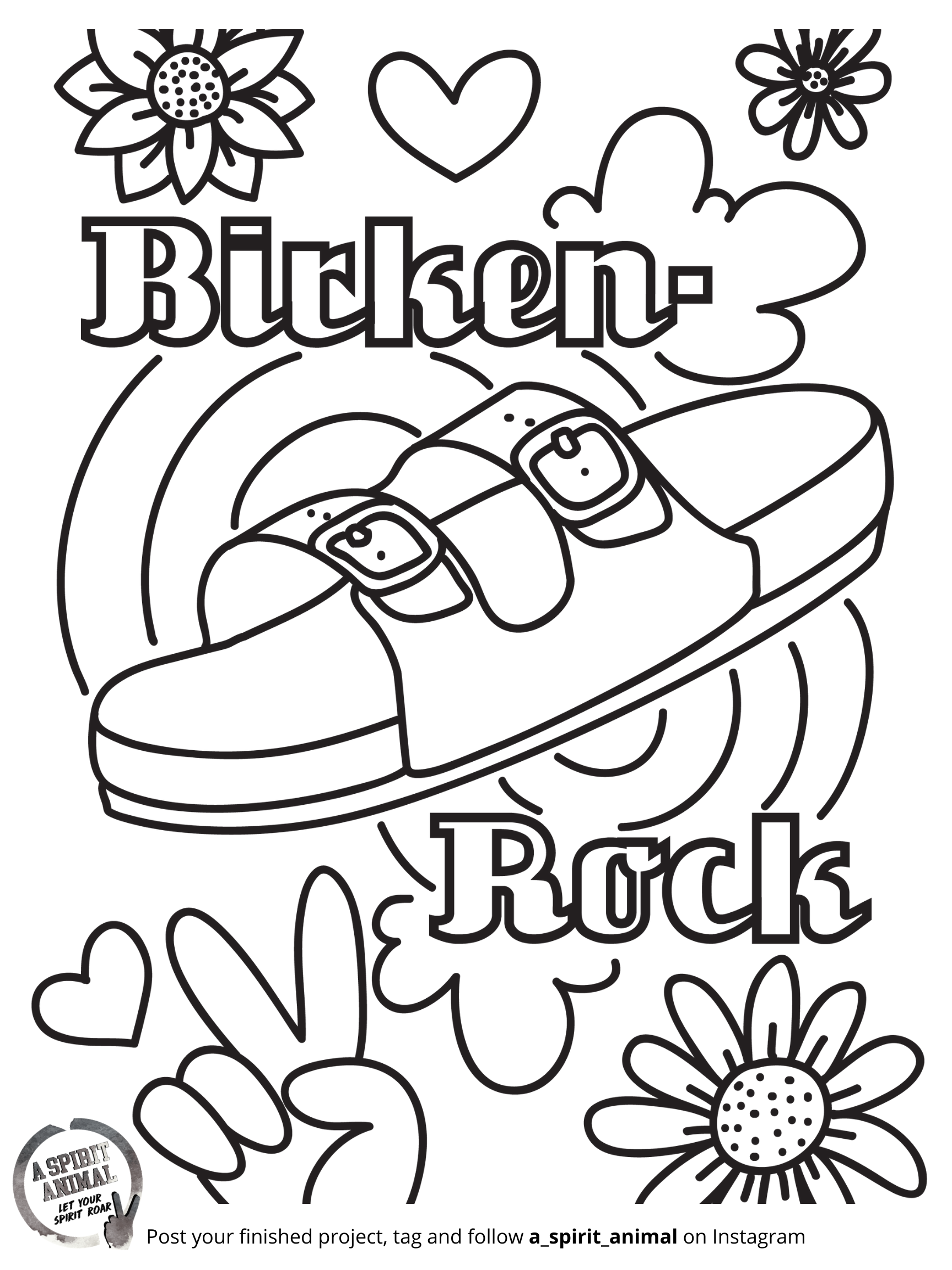 Birkenstock sandals coloring page for girls and tweens. Everyone loves dressing up a flower child