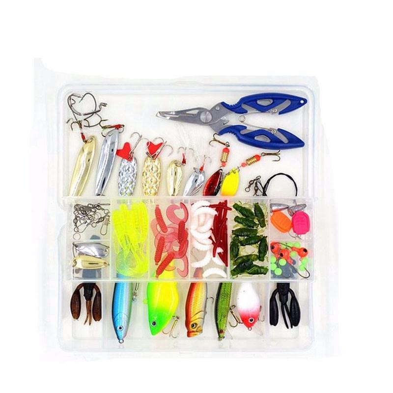 100Pcs Tackle Box Kit - Hard/Soft - Bait/Lure Fishhooks & Tools for Salt/Freshwater - kayakshops