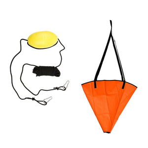 18' Sea Kayak Anchor System + 30ft PVC Drift Anchor Tow Rope - kayakshops