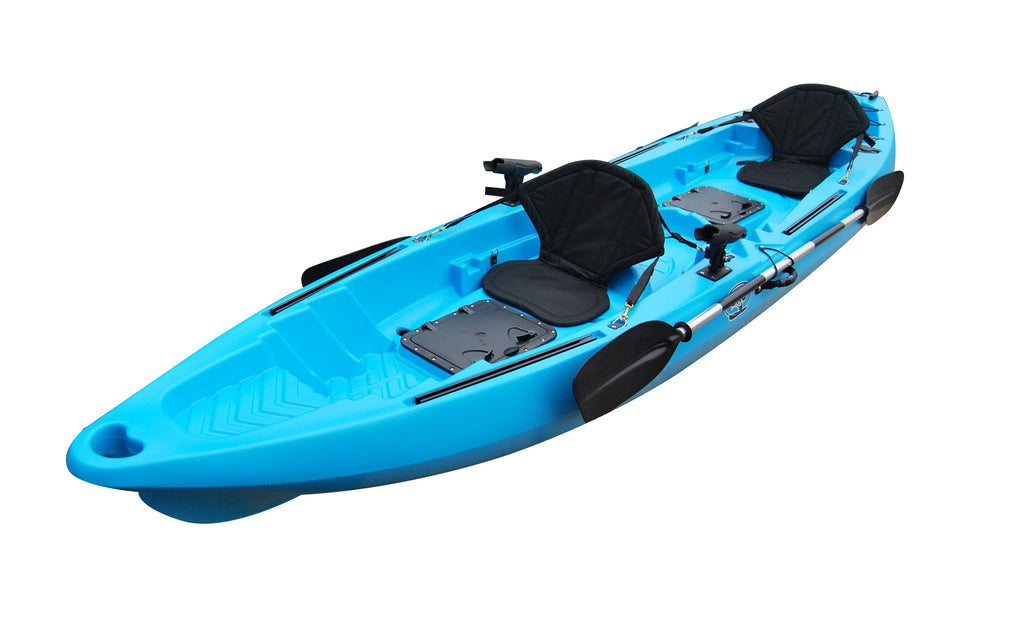 BKC TK122 Angler 12 foot, 8 inch Tandem 2 or 3 Person Sit On Top Fishing Kayak w/ Soft Padded Seats and Paddles