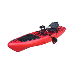 red BKC UH-PK13 Pedal Fishing Kayak Solo Traveler 13 Foot, With Pedal Drive, Rudder System, Paddle And Seat