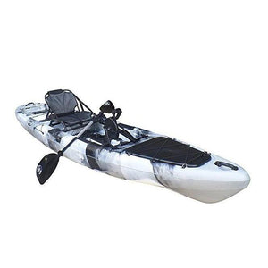white BKC UH-PK13 Pedal Fishing Kayak Solo Traveler 13 Foot, With Pedal Drive, Rudder System, Paddle And Seat