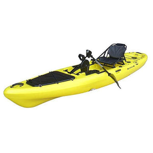 yellow BKC UH-PK13 Pedal Fishing Kayak Solo Traveler 13 Foot, With Pedal Drive, Rudder System, Paddle And Seat