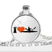I Love Kayaks Silver Pendant Necklace - Art Printed Photo - Round Glass