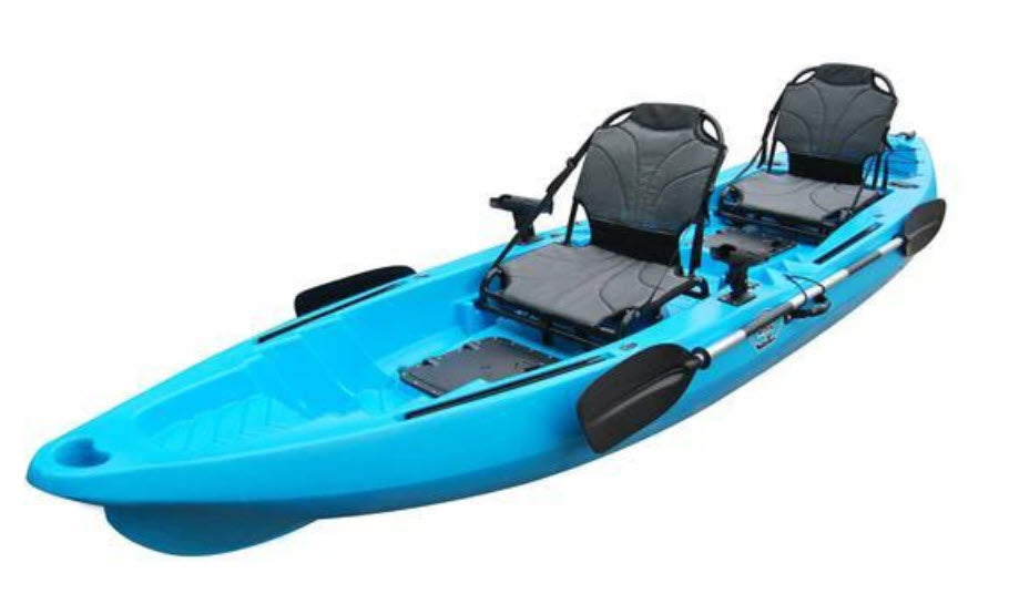 BKC TK122 Angler 12 foot, 8 inch Tandem 2 or 3 Person Sit On Top Fishing Kayak w/ Upright Aluminum Frame Seats and Paddles