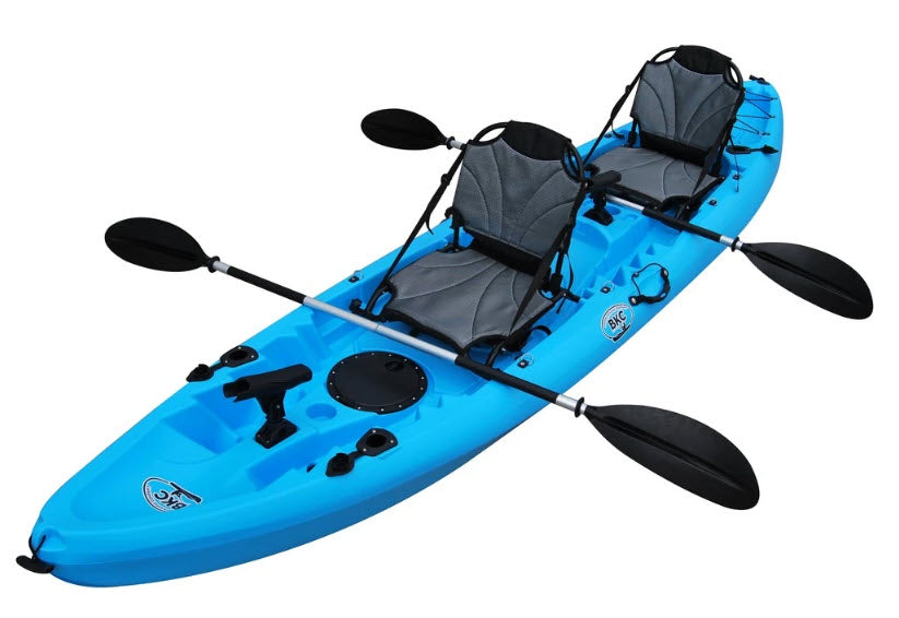 BKC TK219 12.5 Foot Tandem Fishing Kayak W/ Aluminum Upright Seats, 2 Paddles, 6 Rod Holders, 2-3 Person Angler kayak