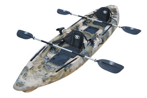 BKC TK122 12.9' Tandem Fishing Kayak W/ Soft Padded Seats, Paddles, 4 Rod Holders Included 2-3 Person Angler Kayak