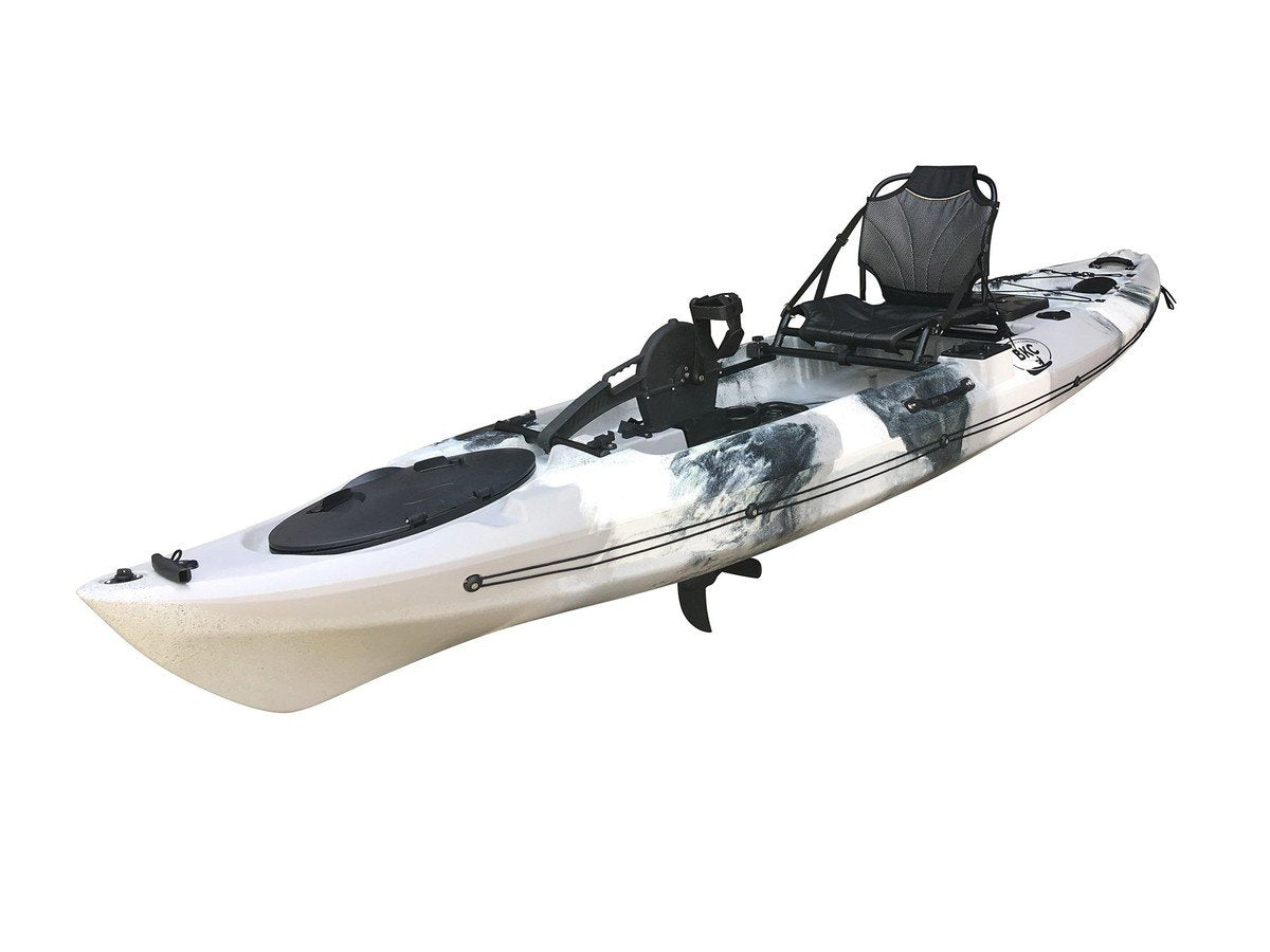 BKC PK12 12' Single Propeller Pedal Drive Fishing Kayak W/ Rudder System, Paddle and Upright Back Support Aluminum Frame Seat Person Foot Operated Kayak