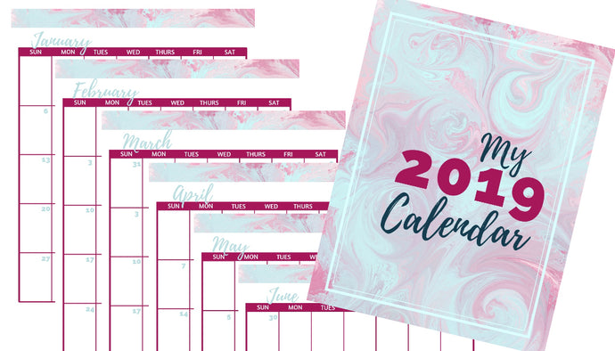 2019 Printable Calendar - Watercolor Design