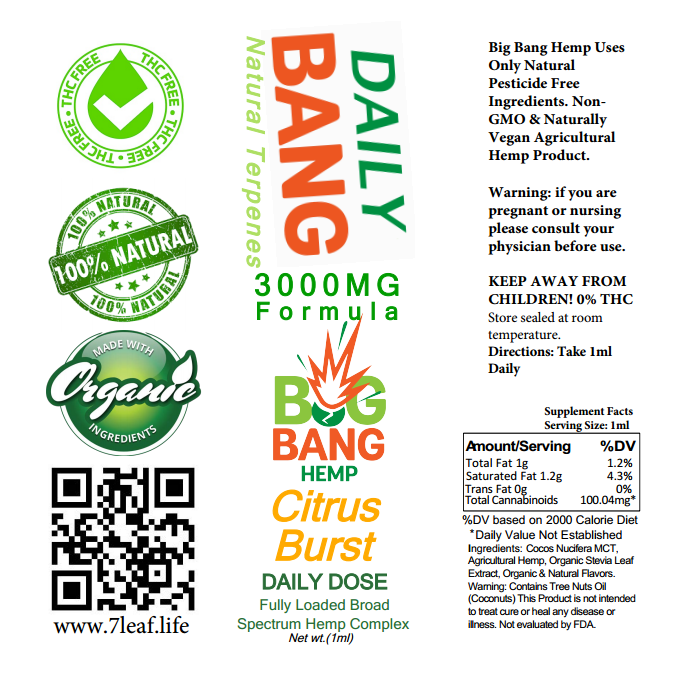 Daily Bang CBD Syringe Citrus Burst 3000mg- Big Bang Hemp CBD