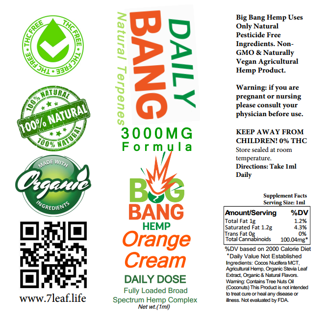 Daily Bang CBD Syringe Orange Cream 3000mg- Big Bang Hemp CBD