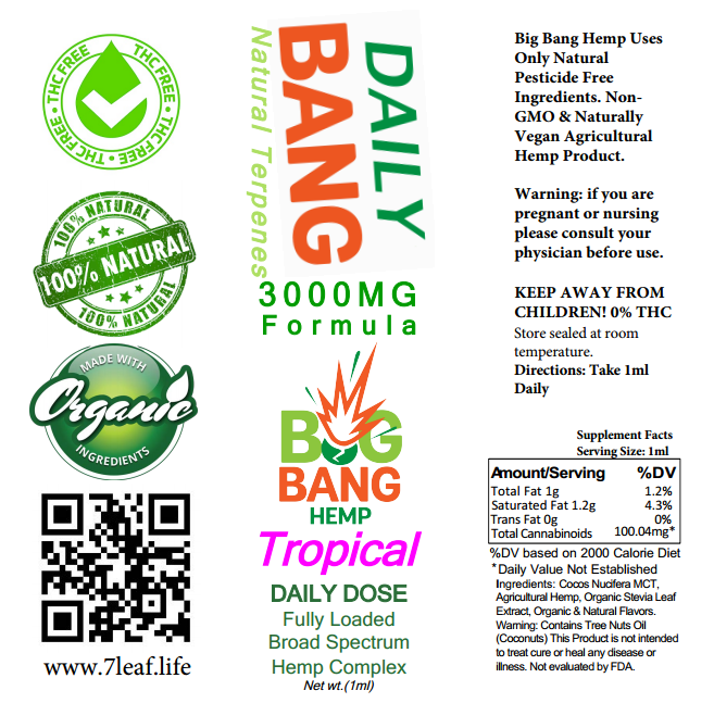 Daily Bang CBD Syringe Tropical 3000mg- Big Bang Hemp CBD