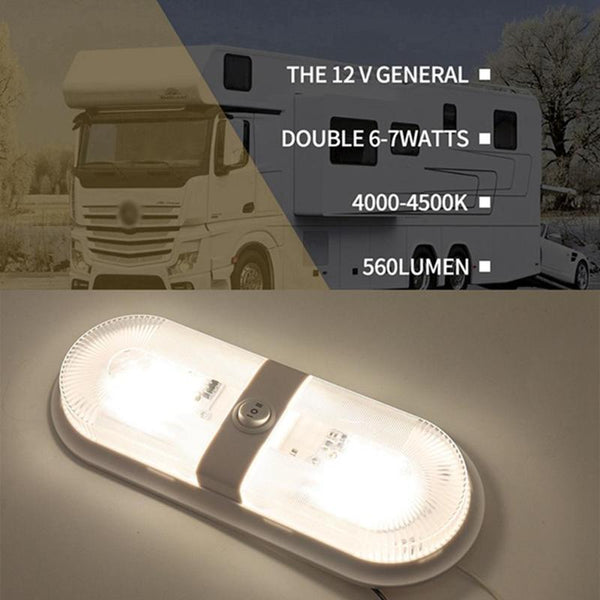 12V-24V LED Dome Light Interior Ceiling Lamp with Switch Auto RV Marine Motorhome Trailer