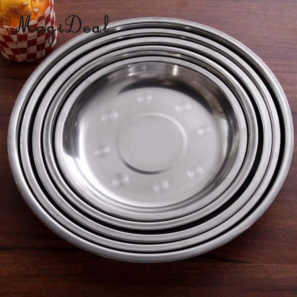 6 Pcs Outdoor Camping Plates Dishes Set Stainless Steel