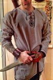 Embroidery Tunic Shirt Viking Norse Medieval Linen