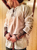 Medieval Shirt Robe Viking Renaissance Cotton Tunic Short Sleeve Shirts SCA/LARP
