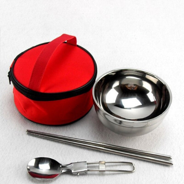 Dinnerware Bowl Spoons Chopsticks Tableware Set With Storage Bag Foldable