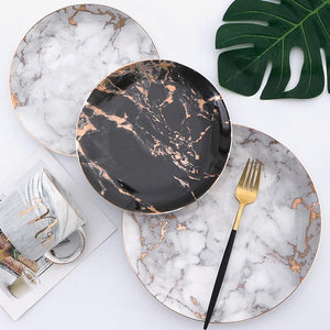 8 or 10 inch Marble Ceramic Plate and Dinner Set