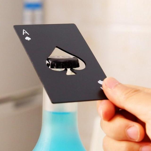 Black/Silver Poker Card Bottle Opener