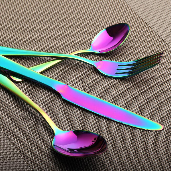 Stainless Steel Rainbow Cutlery Set - superkitchenstore