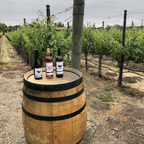 Bottles of Corkbeard wines—Cabernet Sauvignon, Rosé, and Chardonnay—sit atop an oak wine barrel in a California vineyard.