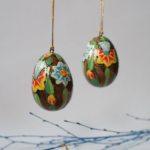 Floral Wooden Easter Egg