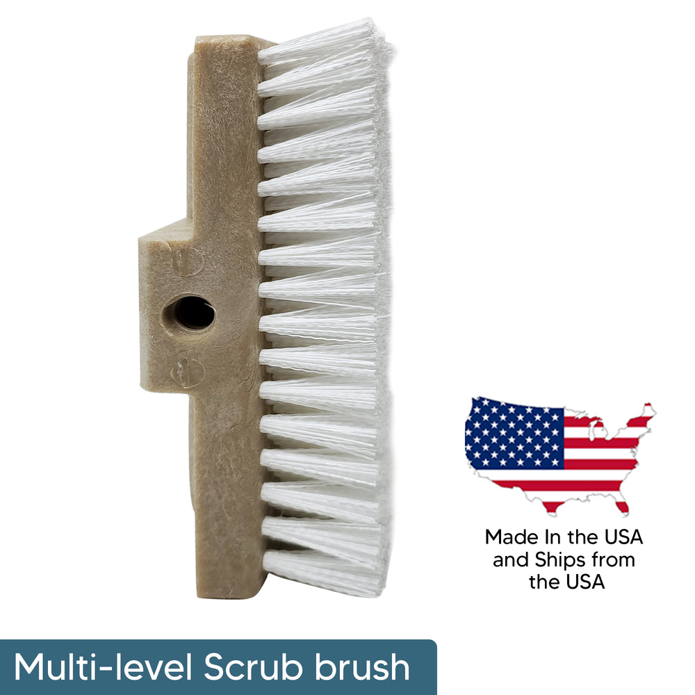 Multi-Level Scrub Brush with USA Flag pointing out Made In USA and Ships From USA