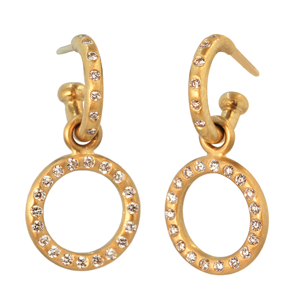 Diamond Hoops with Detachable Diamond Loop Drops