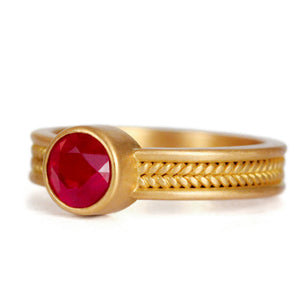 Narrow Braid Ring with Ruby