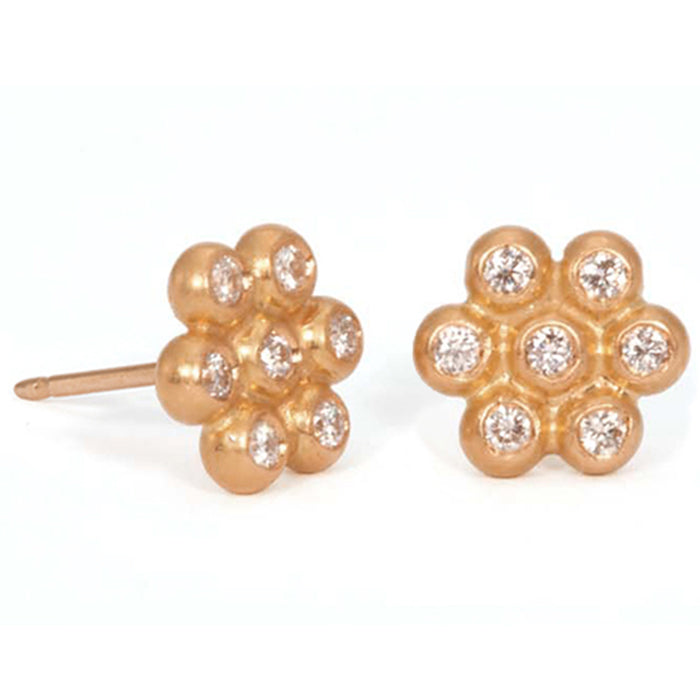 Snowdrop Studs (Large) in 22k Apricot Gold