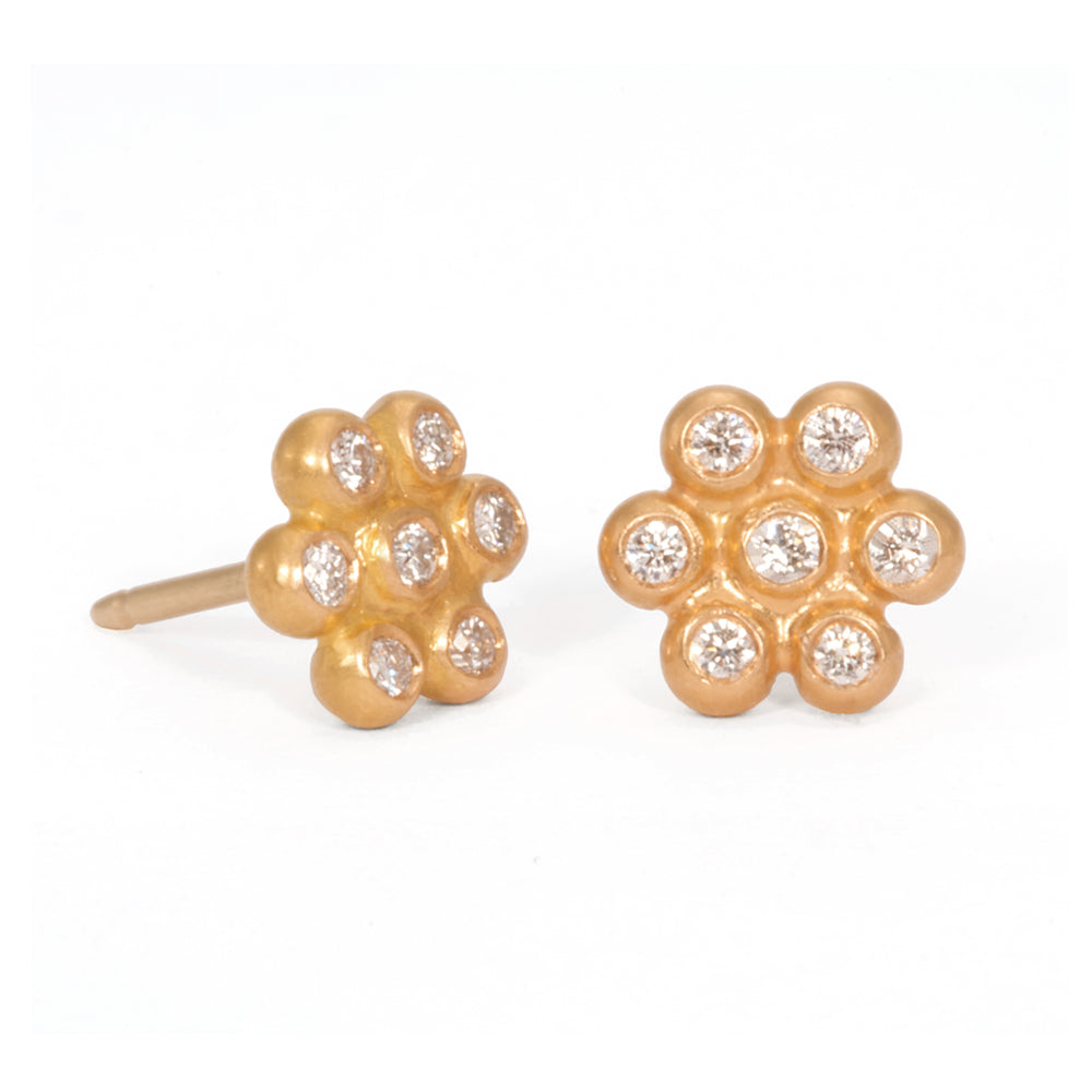 Snowdrop Studs in 22k Apricot Gold