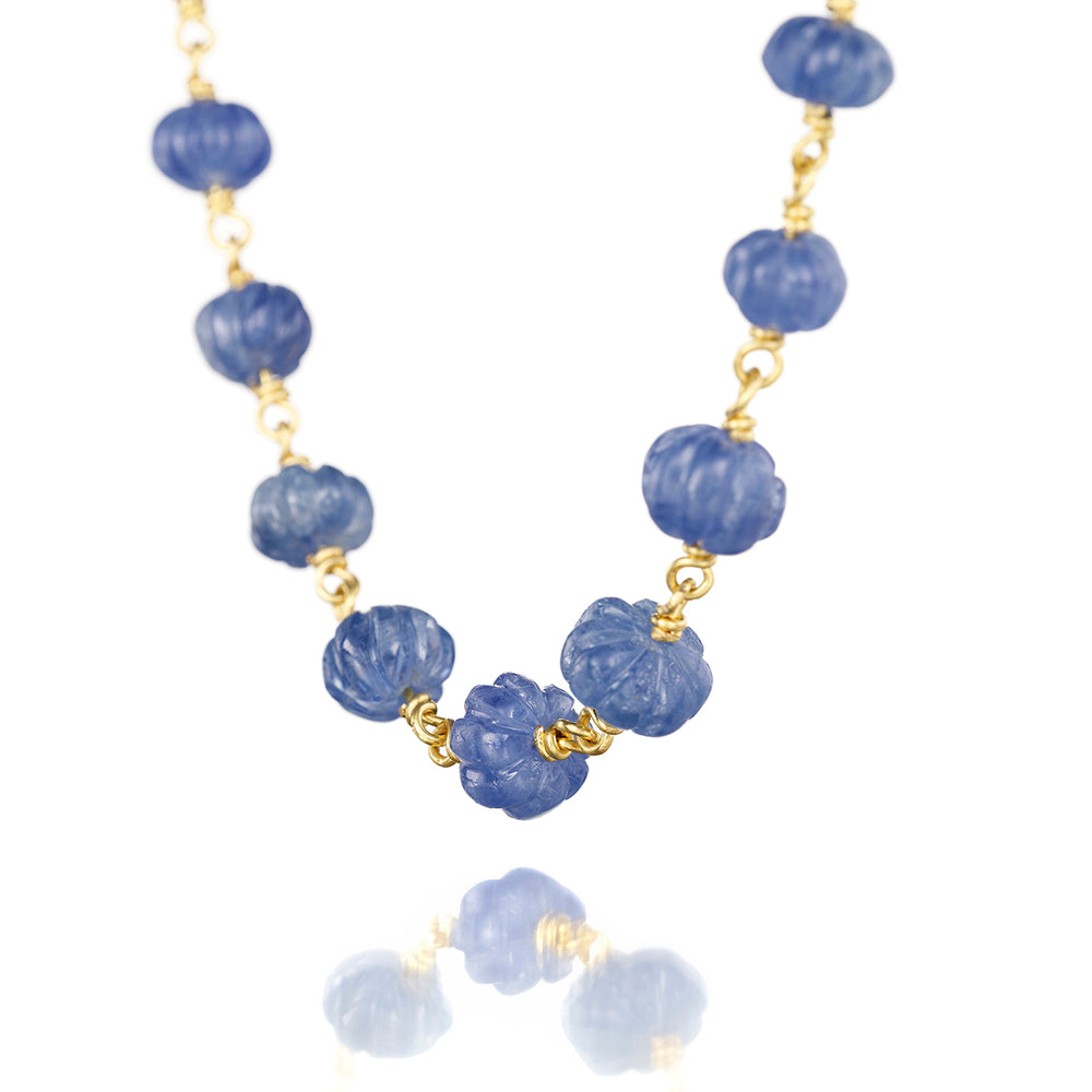 Blue Sapphire Isabella Necklace in 20k Peach Gold