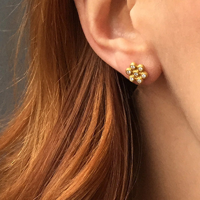 Snowdrop Studs (Large) in 20k Peach Gold