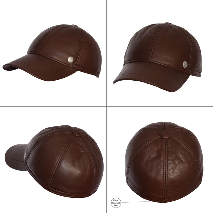 Dazoriginal Leather Baseball Cap Fitted Genuine Leather Peak Hat Unisex Trucker - Dazoriginal