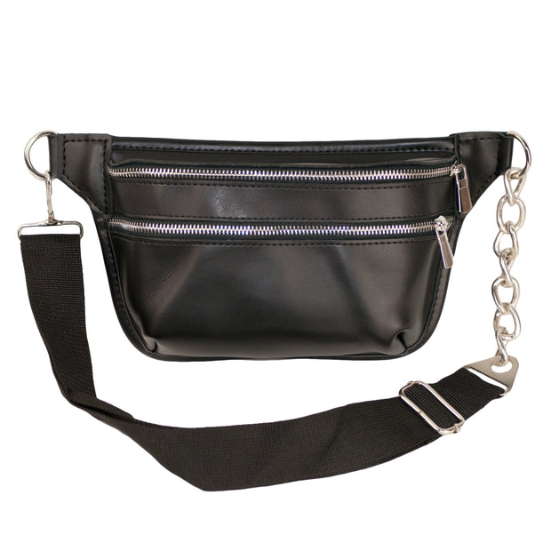 Dazoriginal Belt Bags Women Black Waist Bag Bum Fany Pack Hip Pouch Eco Leather - Dazoriginal