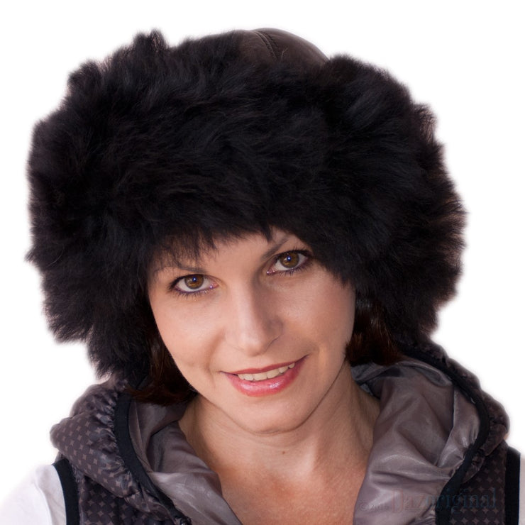 Russian Hat Cossack Ladies Beanie Leather Faux Fur Ski Winter Black/Brown/White/Cream - Dazoriginal