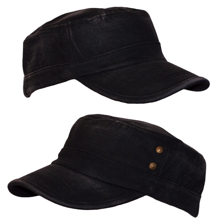 Dazoriginal Distressed Cotton Cadet Cap Army Caps Flat Top Peaked Military Newsboy - 2 Stud - Dazoriginal
