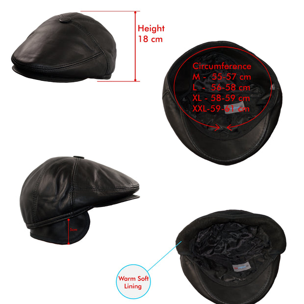 Newsboy Hats Men Baker boy Leather Hat 5 Panel Cap Irish Flat Caps BLACK - Dazoriginal