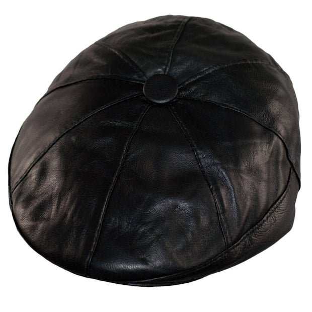 Newsboy Cap Bakerboy Leather Hat 8 Panel Flat Cap Cabby Dai Cap One Size BLACK/BROWN - Dazoriginal