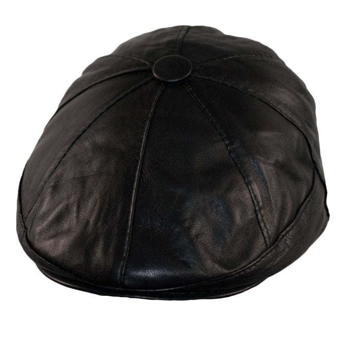 Dazoriginal Newsboy Cap Bakerboy Leather Hat 8 Panel Flat Cap Cabby Dai Cap One Size BLACK/BROWN