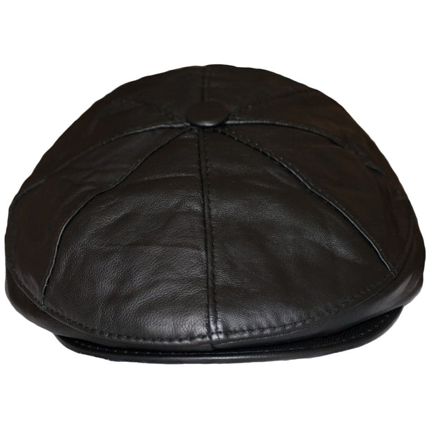 Newsboy Cap Bakerboy Leather Hat 8 Panel Flat Cap Cabby Dai Cap BLACK/BROWN - Dazoriginal